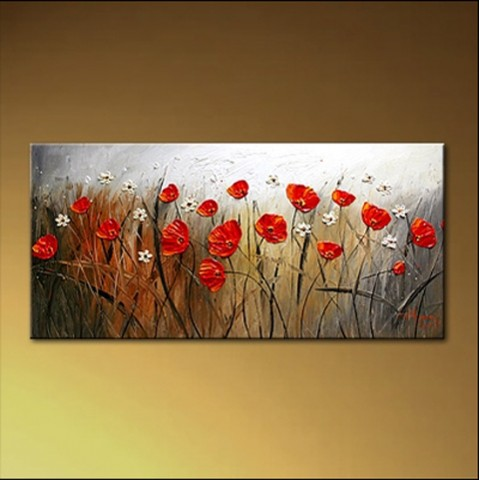 "Hand-painted Flower Oil Painting with Stretched Frame - 14"" x 28"""