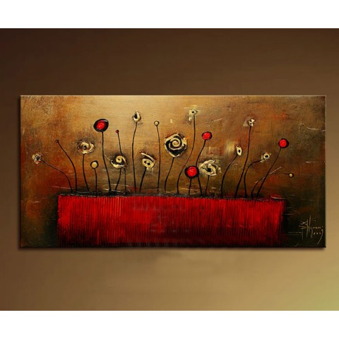 "Flower Hand-painted Oil Painting with Stretched Frame - 14"" x 28"""