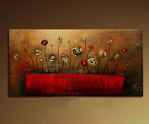 /199-229/flower-hand-painted-oil-painting-with-stretched-frame-14-x-28.jpg