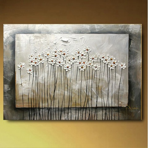 "Hand-painted Flower Oil Painting with Stretched Frame - 16"" x 24"""