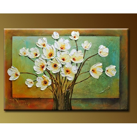"Flower Hand-painted Oil Painting with Stretched Frame - 16"" x 24"""