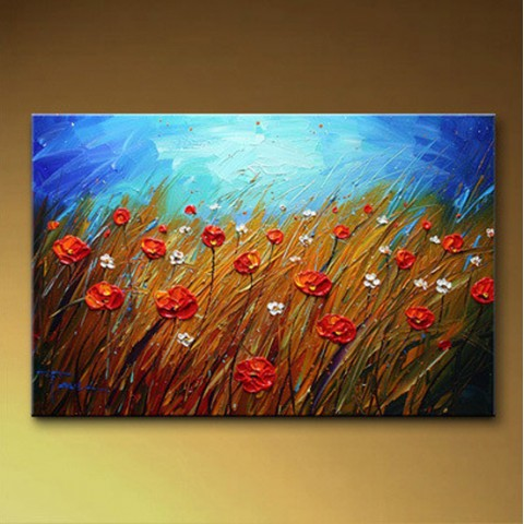 "Flower Hand-painted Oil Painting with Stretched Frame - 16"" x 20"""