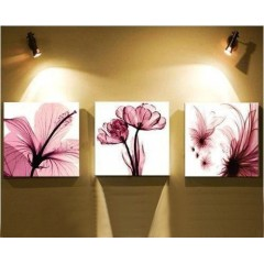 Hand-painted Flower Oil Painting with Stretched Frame - Set of 3