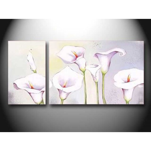 Hand-painted Flower Oil Painting with Stretched Frame - Set of 2