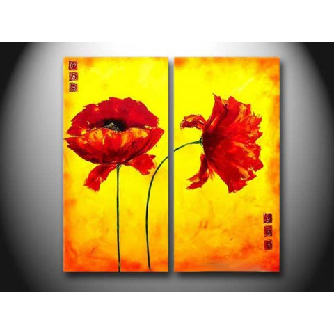 Flower Hand-painted Oil Painting with Stretched Frame - Set of 2