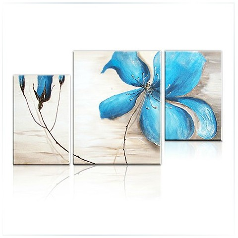 Hand-painted Abstract Oil Painting with Stretched Frame - Set of 3 ...
