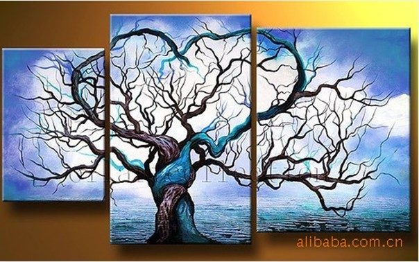 Hand painted tree oil painting with stretched frame set for Oil paintings for sale amazon
