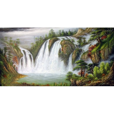 "Hand-painted Landscape Oil Painting with Stretched Frame - 24"" x 40"""