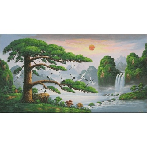 "Hand-painted Landscape Oil Painting with Stretched Frame - 40"" x 24"""