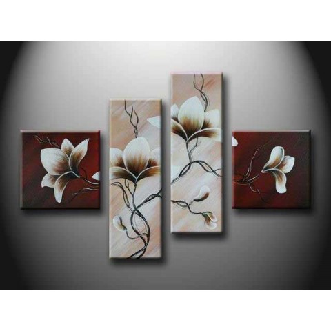 Hand Painted Flower Oil Painting With Stretched Frame Set