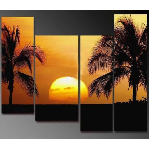 Hand-painted Sunset Oil Painting with Stretched Frame - Set of 4