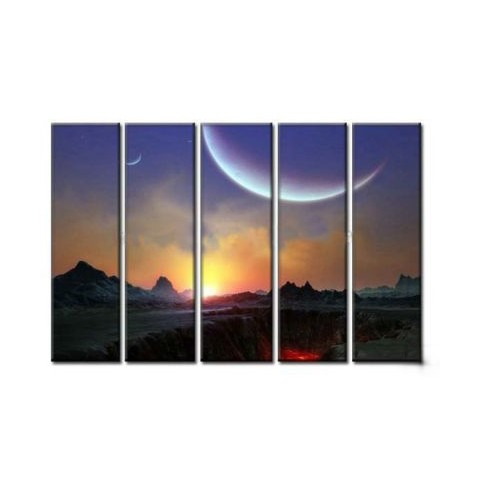 Hand-painted Sunrise Oil Painting with Stretched Frame - Set of 5