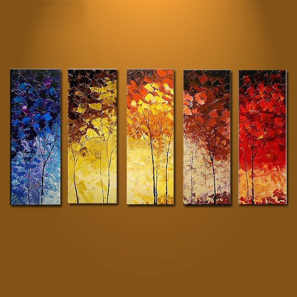 Hand painted tree oil painting with stretched frame set for Canvas art on sale