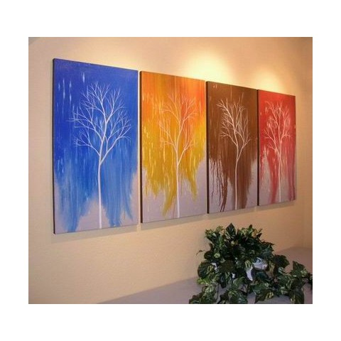 Hand-painted Tree Oil Painting with Stretched Frame - Set of 4