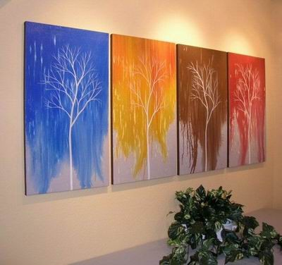 /369-435/hand-painted-tree-oil-painting-with-stretched-frame-set-of-4.jpg