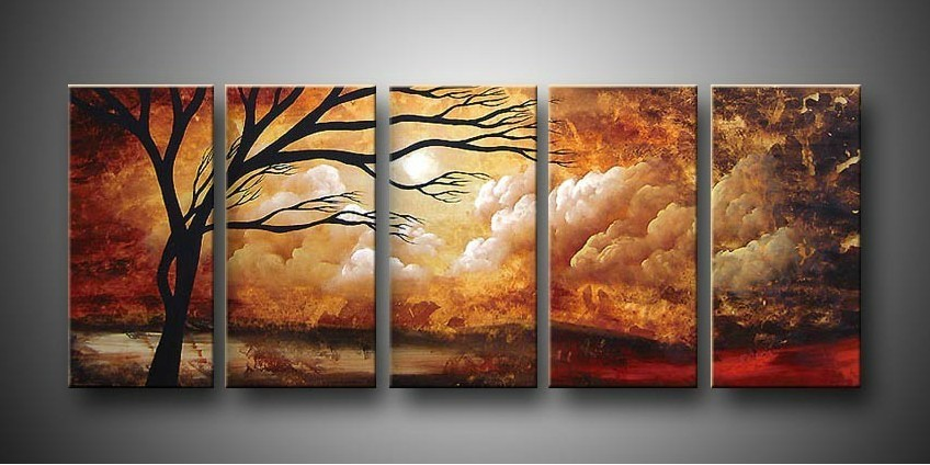 /401-476/hand-painted-tree-oil-painting-with-stretched-frame-set-of-5.jpg