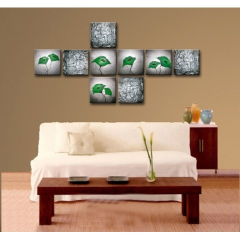 Flower Hand-painted Oil Painting with Stretched Frame - Set of 9