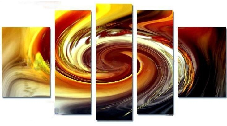Hand-painted Abstract Oil Painting with Stretched Frame - Set of 5 ...