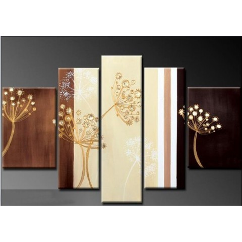 Hand-painted Dandelion Oil Painting with Stretched Frame - Set of 5