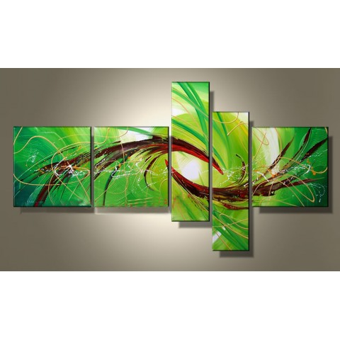 Hand-painted Abstract Oil Painting with Stretched Frame - Set of 5