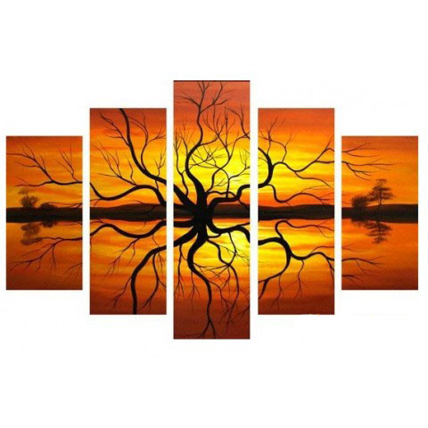Hand-painted Tree Oil Painting with Stretched Frame - Set of 5
