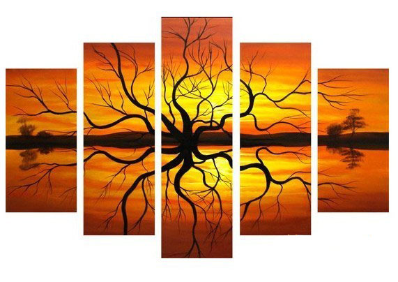 /484-579/hand-painted-tree-oil-painting-with-stretched-frame-set-of-5.jpg