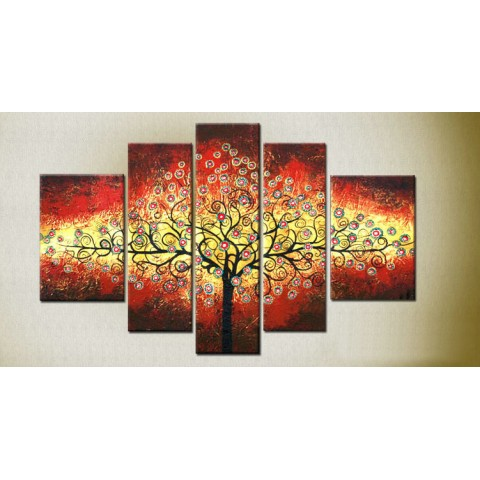 Hand-painted Tree Oil Painting with Stretched Frame - Set of 6