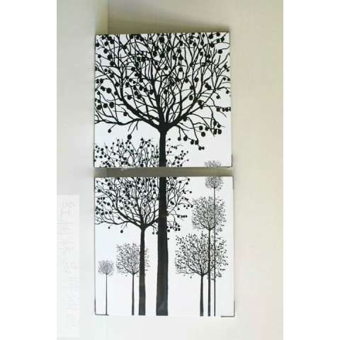 Hand-painted Tree Oil Painting with Stretched Frame - Set of 2