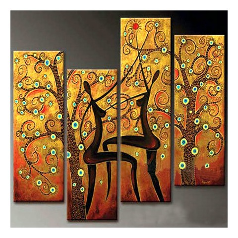 Abstract Hand-painted Oil Painting with Stretched Frame - Set of 4