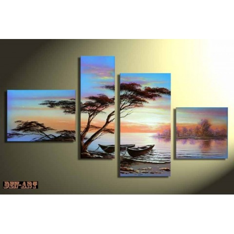 Hand-painted Tree Oil Painting with Stretched Frame - Set of 4 - Wall Art Ideas