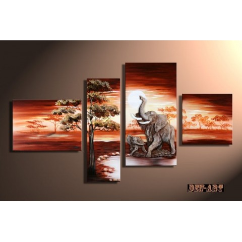 Hand-painted Elephant Oil Painting with Stretched Frame - Set of 4