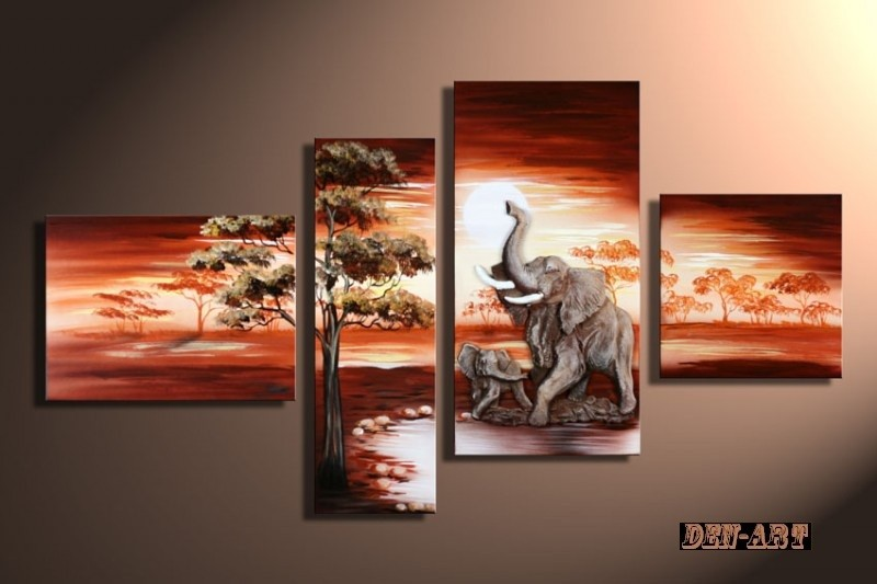 /505-611/hand-painted-elephant-oil-painting-with-stretched-frame-set-of-4.jpg