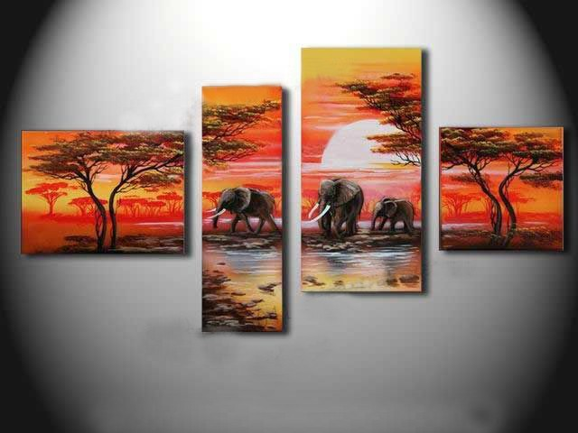 /506-613/hand-painted-elephant-oil-painting-with-stretched-frame-set-of-4.jpg