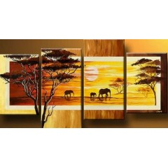Hand-painted African Landscape Oil Painting with Stretched Frame - Set of 4