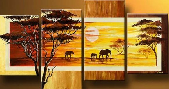 /509-617/hand-painted-african-landscape-oil-painting-with-stretched-frame-set-of-4.jpg