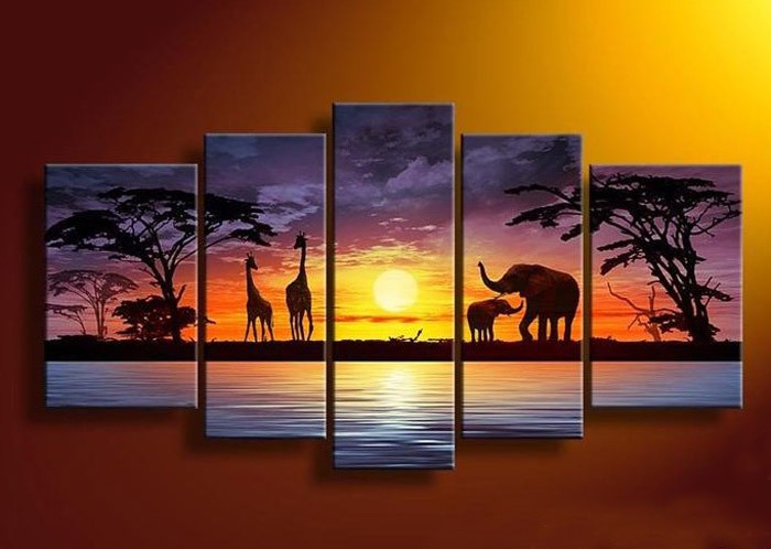 /512-620/hand-painted-african-landscape-oil-painting-with-stretched-frame-set-of-5.jpg