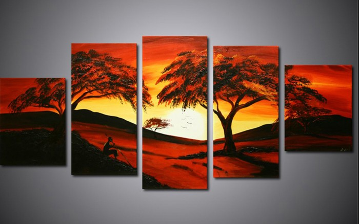 /515-625/hand-painted-tree-oil-painting-with-stretched-frame-set-of-5.jpg