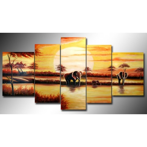 Arican Landscape Hand-painted Oil Painting with Stretched Frame - Set of 5