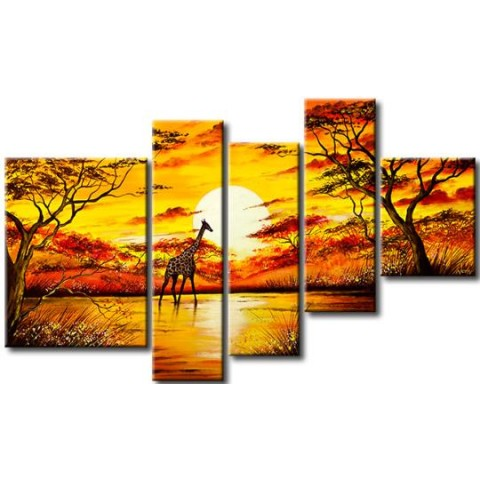 Hand-painted Arican Landscape Oil Painting with Stretched Frame - Set of 5
