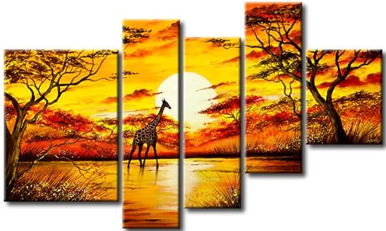 /525-638/hand-painted-arican-landscape-oil-painting-with-stretched-frame-set-of-5.jpg