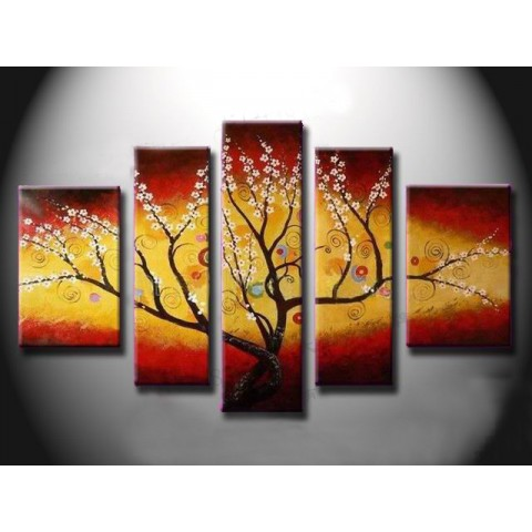 Hand-painted Flower Oil Painting with Stretched Frame - Set of 5