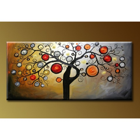 "Hand-painted Tree Oil Painting with Stretched Frame - 20"" x 40"""