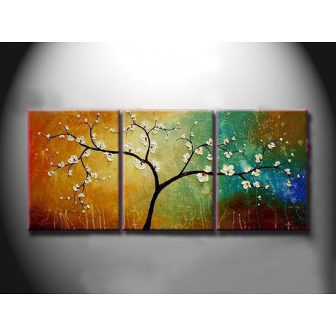 Hand-painted Tree Oil Painting with Stretched Frame - Set of 3