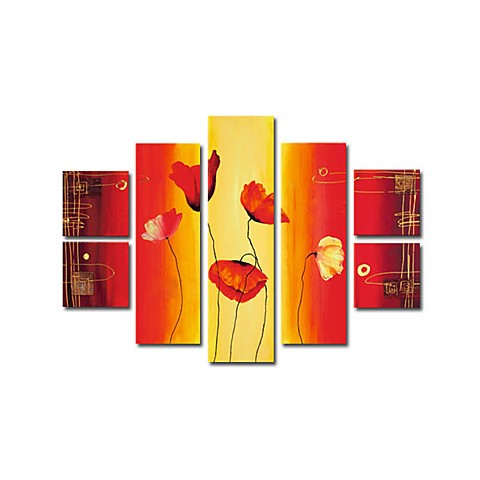 Hand-painted Abstract Oil Painting with Stretched Frame - Set of 7