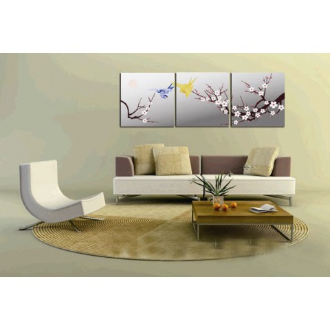 Flower Printed Canvas Art with Stretched Frame - set of 3