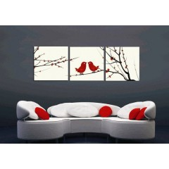 Printed Flower Canvas Art with Stretched Frame - set of 3