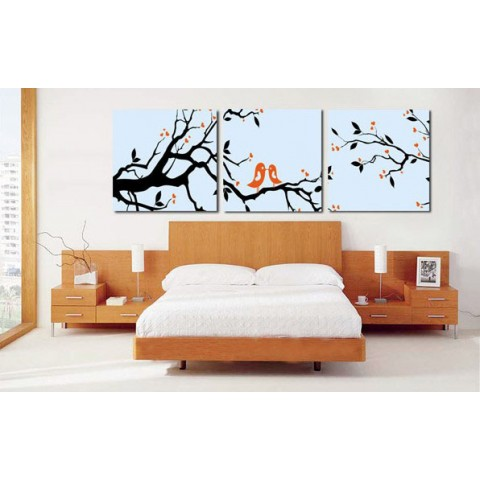 Printed Birds Canvas Art with Stretched Frame - set of 3