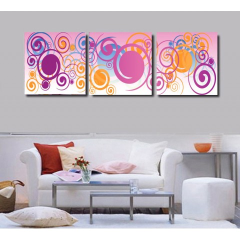 Printed Abstract Canvas Art with Stretched Frame - set of 3