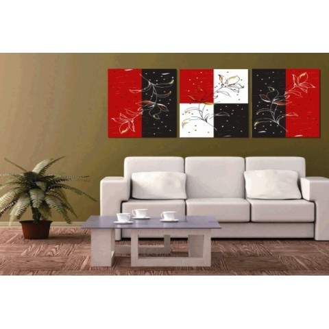 Printed Abstract Canvas Art With Stretched Frame Set Of 3 Wall Ideas