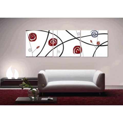 Abstract Printed Canvas Art with Stretched Frame - set of 3